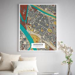 Gerahmtes Poster der Innenstadt Mannheims im Stil Herbst