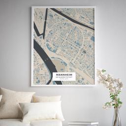 Gerahmtes Poster der Innenstadt Mannheims im Stil Hokusai
