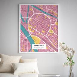 Gerahmtes Poster der Innenstadt Mannheims im Stil Hollywood