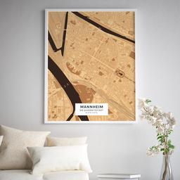 Gerahmtes Poster der Innenstadt Mannheims im Stil Holz