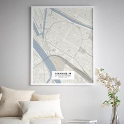 Gerahmtes Poster der Innenstadt Mannheims im Stil Japandi