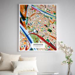 Gerahmtes Poster der Innenstadt Mannheims im Stil Kandinsky