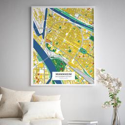 Gerahmtes Poster der Innenstadt Mannheims im Stil Lichtenstein