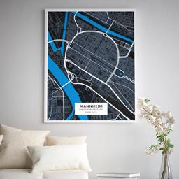 Gerahmtes Poster der Innenstadt Mannheims im Stil Midnight