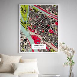 Gerahmtes Poster der Innenstadt Mannheims im Stil Popart