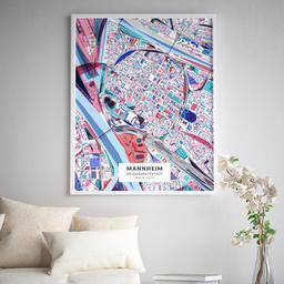 Gerahmtes Poster der Innenstadt Mannheims im Stil Primavera
