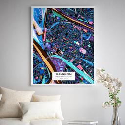 Gerahmtes Poster der Innenstadt Mannheims im Stil Schwarzlicht
