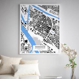 Gerahmtes Poster der Innenstadt Mannheims im Stil Schwarzplan