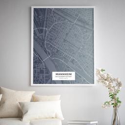 Gerahmtes Poster der Innenstadt Mannheims im Stil Titan