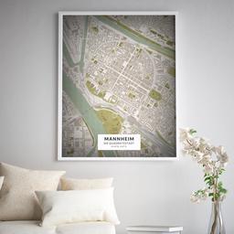 Gerahmtes Poster der Innenstadt Mannheims im Stil Vintage