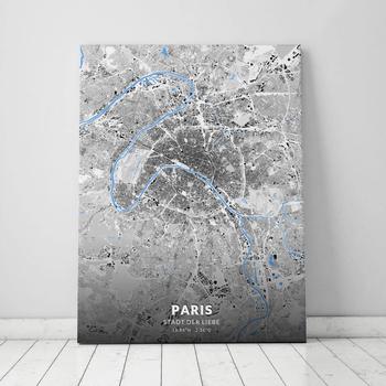 Stadtplan Leinwand Paris im Stil Schwarzplan