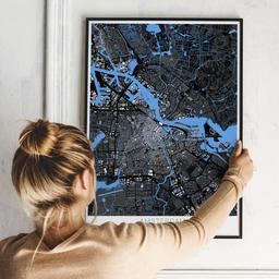 Gerahmtes Poster von Amsterdam im Stil Architekt