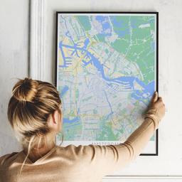 Gerahmtes Poster von Amsterdam im Stil Atlas