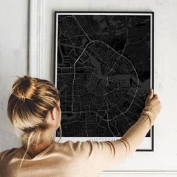 Gerahmtes Poster von Amsterdam im Stil Black
