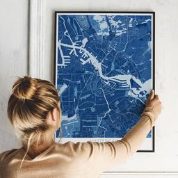 Gerahmtes Poster von Amsterdam im Stil Blaupause