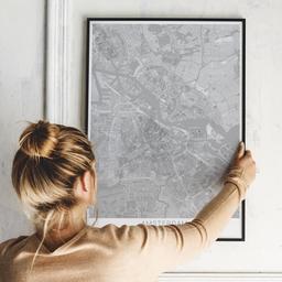 Gerahmtes Poster von Amsterdam im Stil Bleistift