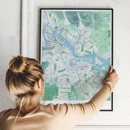 Gerahmtes Poster von Amsterdam im Stil Gentle