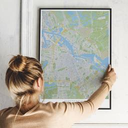 Gerahmtes Poster von Amsterdam im Stil Greenfield