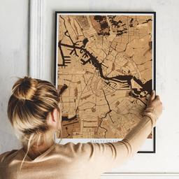 Gerahmtes Poster von Amsterdam im Stil Holz