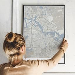Gerahmtes Poster von Amsterdam im Stil Japandi