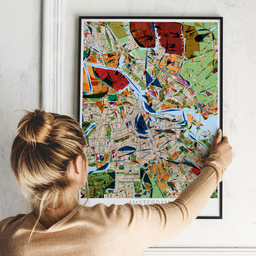 Gerahmtes Poster von Amsterdam im Stil Kandinsky