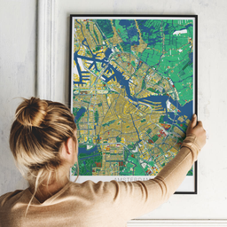 Gerahmtes Poster von Amsterdam im Stil Lichtenstein