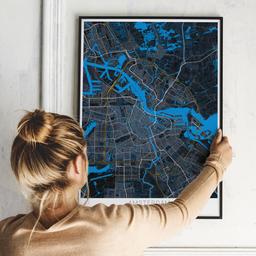 Gerahmtes Poster von Amsterdam im Stil Midnight