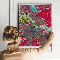 Gerahmtes Poster von Amsterdam im Stil Popart