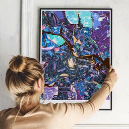 Gerahmtes Poster von Amsterdam im Stil Schwarzlicht