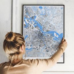 Gerahmtes Poster von Amsterdam im Stil Schwarzplan