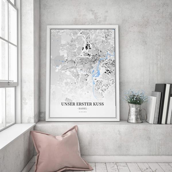 Stadtkarte Kassel im Stil Schwarzplan