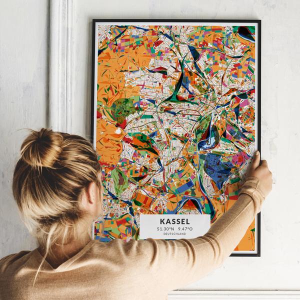 City-Map Kassel im Stil Kandinsky