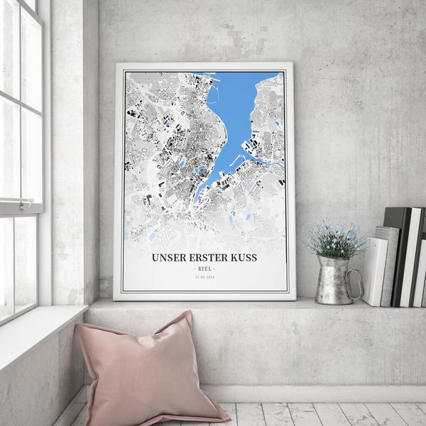 Stadtkarte Kiel im Stil Schwarzplan