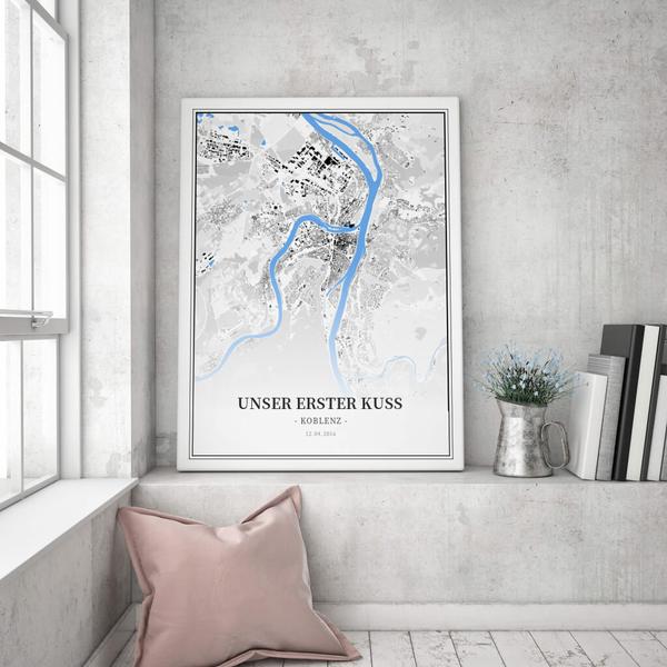 Stadtkarte Koblenz im Stil Schwarzplan