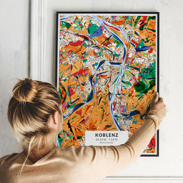 City-Map Koblenz im Stil Kandinsky