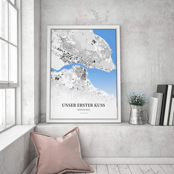 Stadtkarte Konstanz im Stil Schwarzplan