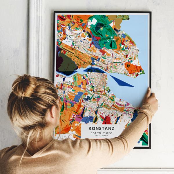 City-Map Konstanz im Stil Kandinsky