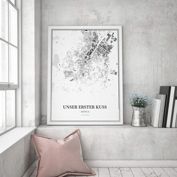 Stadtkarte Konya im Stil Schwarzplan