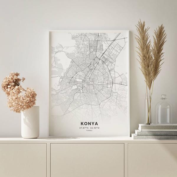 City-Map Konya im Stil Elegant