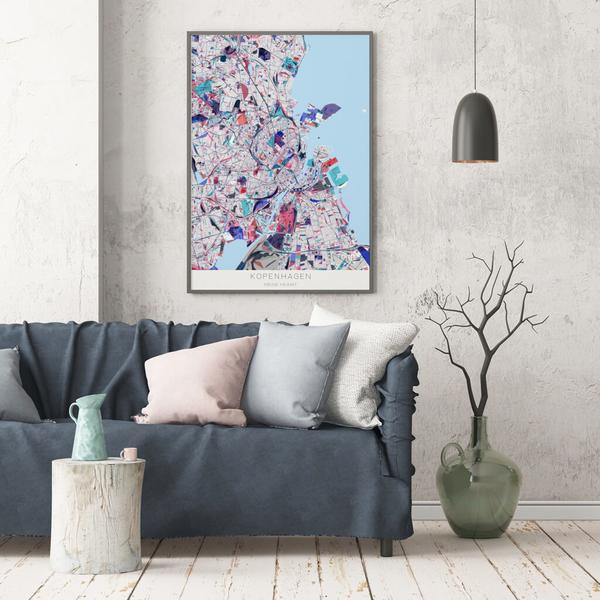 Stadtkarte Kopenhagen im Stil Primavera