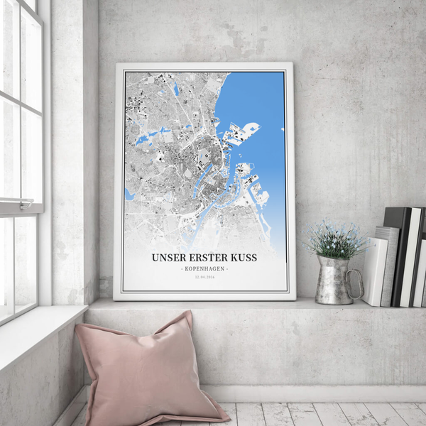 Stadtkarte Kopenhagen im Stil Schwarzplan