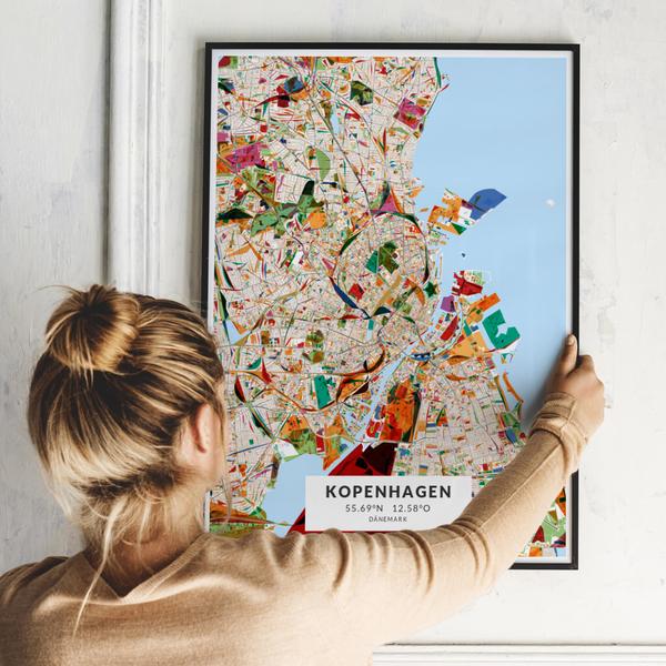 City-Map Kopenhagen im Stil Kandinsky