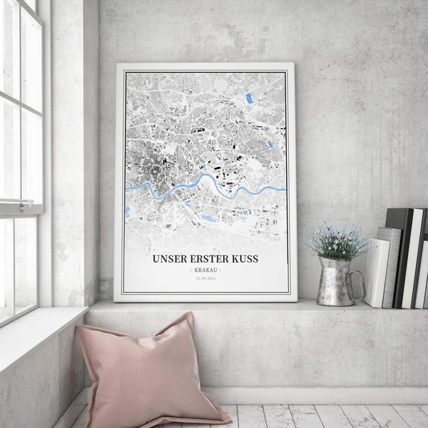 Stadtkarte Krakau im Stil Schwarzplan