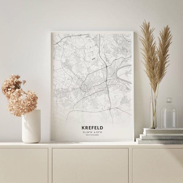 City-Map Krefeld im Stil Elegant