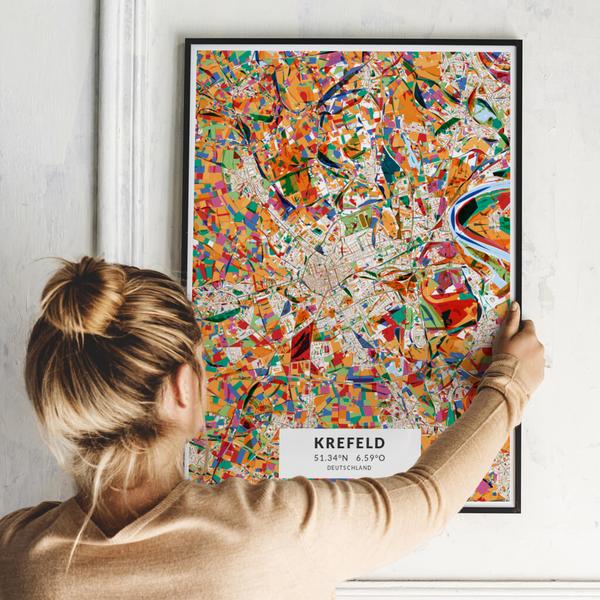 City-Map Krefeld im Stil Kandinsky