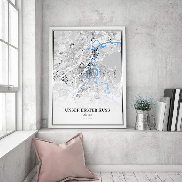 Stadtkarte Lübeck im Stil Schwarzplan