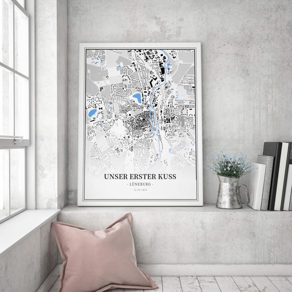 Stadtkarte Lüneburg im Stil Schwarzplan