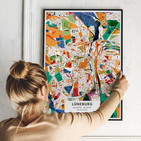 City-Map Lüneburg im Stil Kandinsky