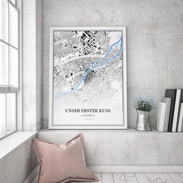 Stadtkarte Landshut im Stil Schwarzplan