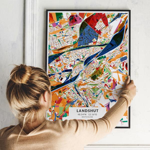 City-Map Landshut im Stil Kandinsky